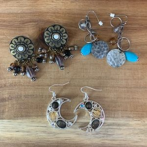 Trio of Retro Boho Vintage Earrings